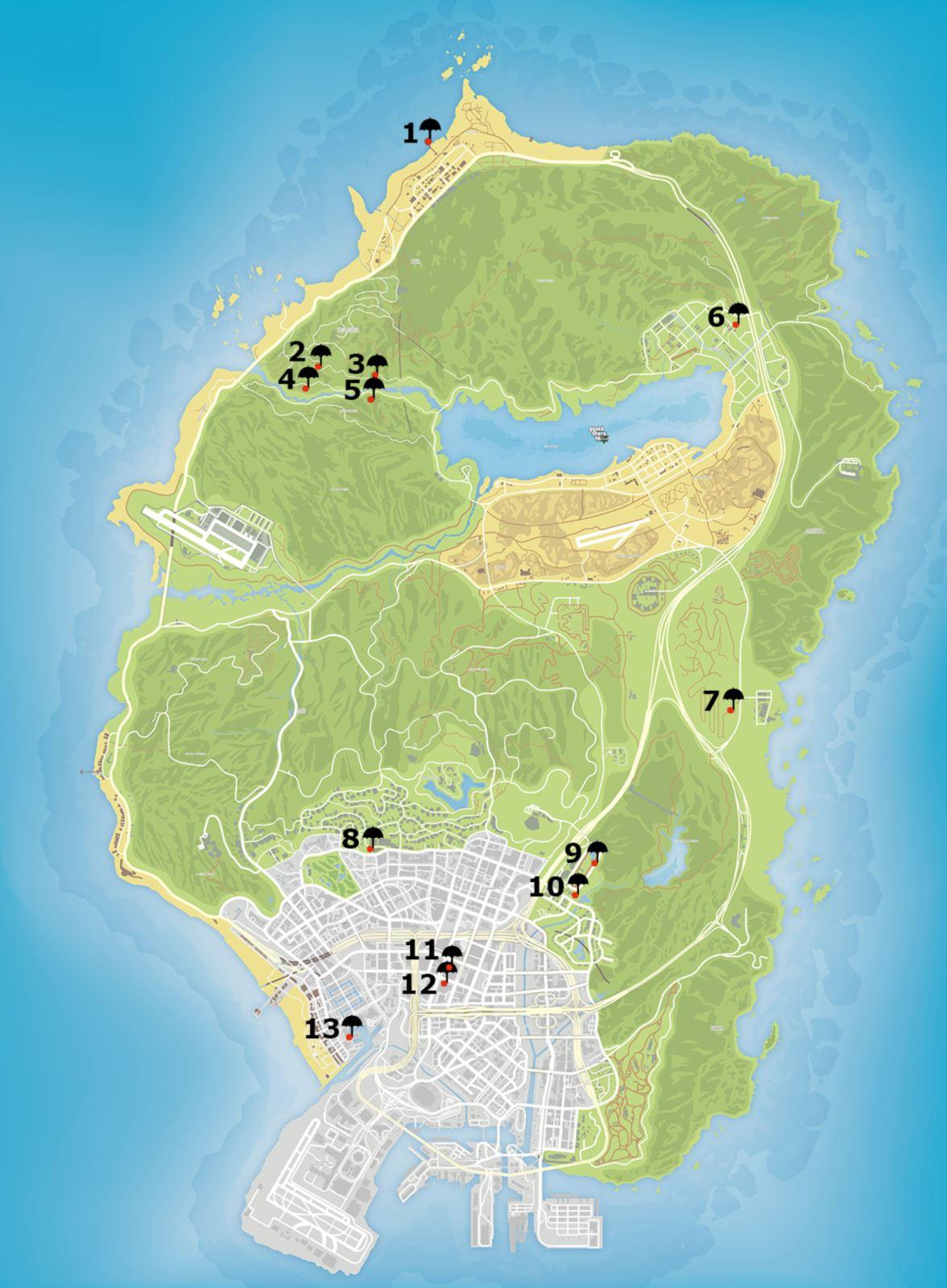 Метки на карте прыжков с парашюта GTA 5