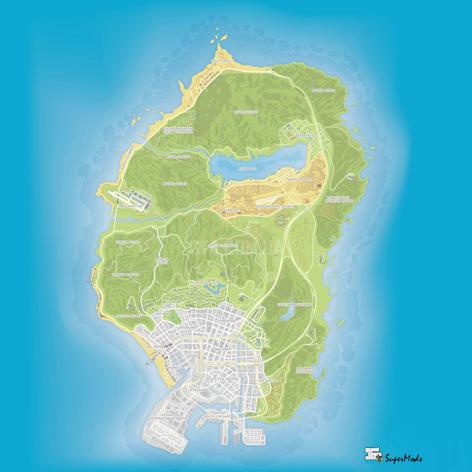 Топографическая карта GTA 5