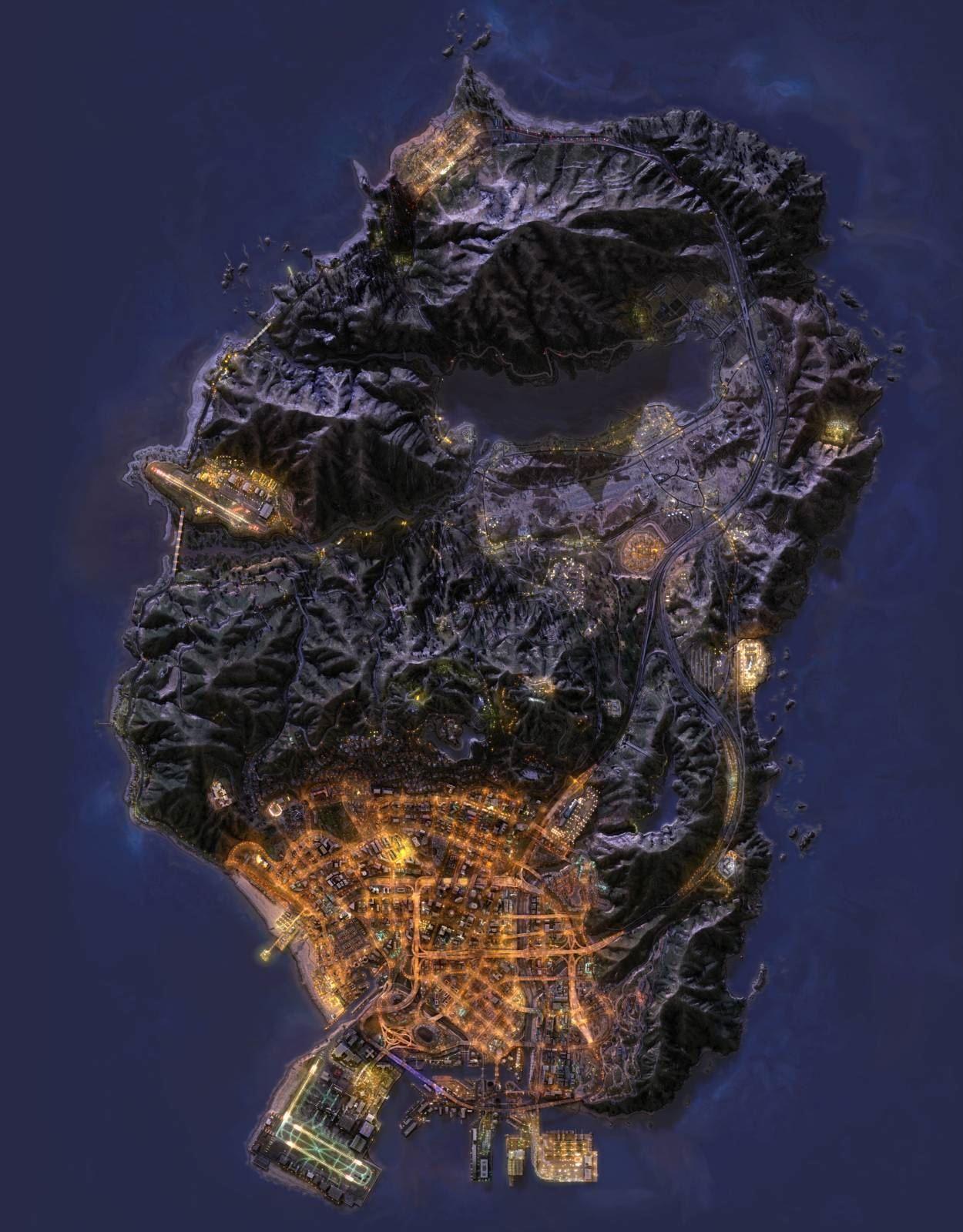 Ночная спутниковая карта GTA 5