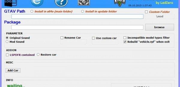 Запущенная программа Vehicle Installer